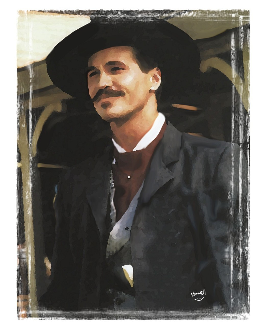 Doc Holliday Tombstone Oil Painting Staring