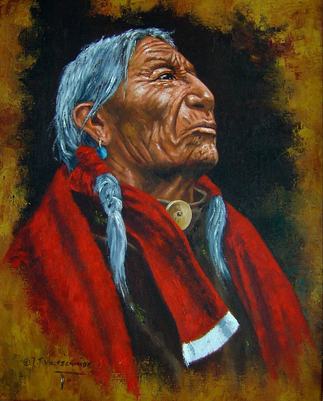 CHIEF STANDS TALL  NATIVE INDIAN  oil Painting