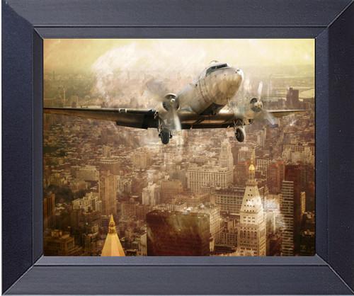 Dc 3 Vintage Plane Flies Close To Manhattan Buildings New York City 1940s Photo Art Collage