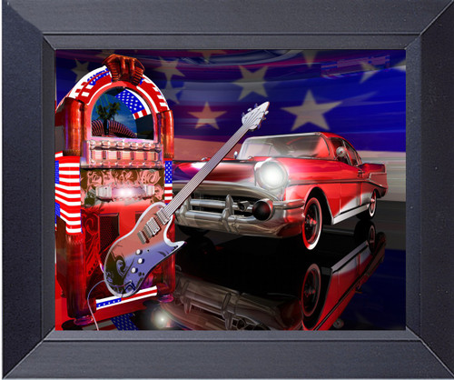 An Electric Guitar, A Jukebox And A 1957 Chevy Photo Art Collage Of The 1950s