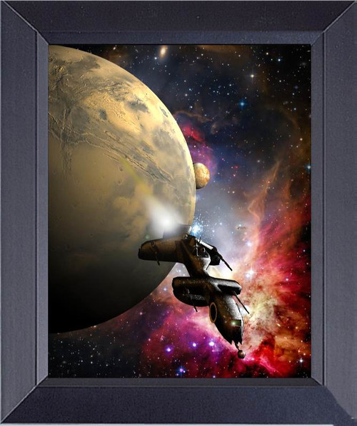 Fantasy Science-Fiction Spaceship Escaping From A Planet. Stars And Satellite On Background. Framed Art Photograph Print