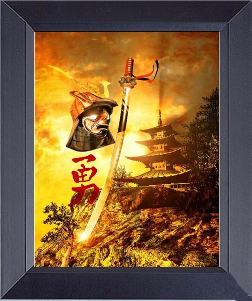 Japanese Samurai Warrior Pagoda Background, With Kanji Japanese Words Heroic Courage Framed Art Photograph Print