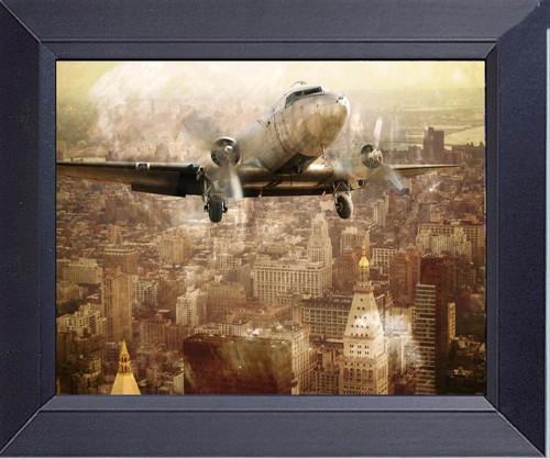 Old Dc 3 Flying Over Manhattan 1930s Framed Art Photograph Print