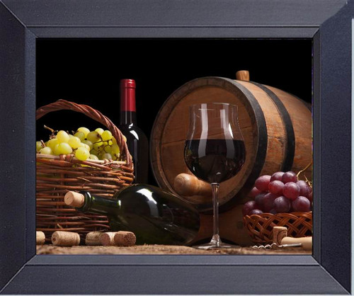 Still Life With Wine Bottles, Glasses And Oak Barrels Framed Art Photograph Print