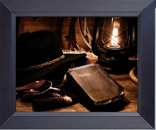 Cowboy Gear Bible And Old West Lamp Framed Art Photograph Print