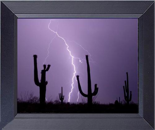 Great Arizona Desert Lightning With Cactus Evening Very Rare Photo Framed Art Photograph Print