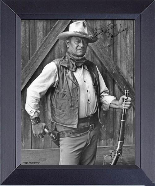 John Wayne In The Cowboy Penned Framed Art Photograph Print
