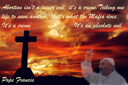 Famous Quote Poster  Abortion Isn't A Lesser Evil, It's A Crime.  Pope Francis