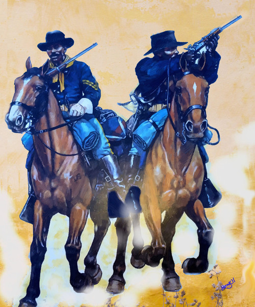 Buffalo Soldiers 9th and 10 cavalry  Oil Painting