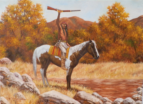 APACHE VICTORY  NATIVE INDIAN  oil Painting