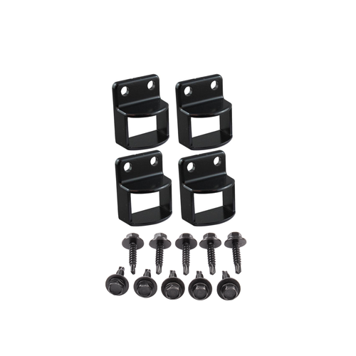 Black Fence Panel Fittings Set - 4 brackets with screws
