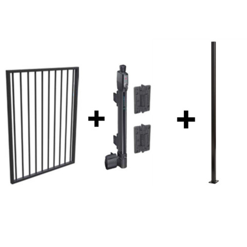 Black Pool Safe Gate Kit - with flanged latch post (1.6m) to bolt down - safe latch and hinges