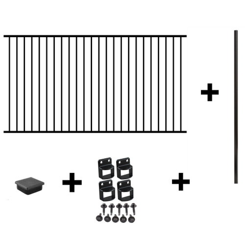 Black Aluminium Pool Fencing PACKAGE DEAL SAVER 1x 2.4m or (2.45m) 1.2m high panel. 1x 1.8m post with cap. 1x fittings pack