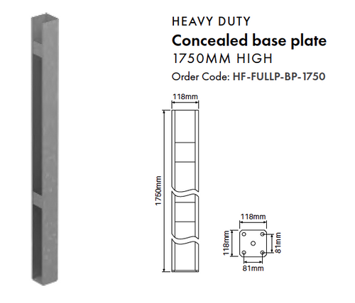Concealed Base Plate  - Heavy Duty - 1750mm high for Gates (for fixing to concrete slabs or timber)