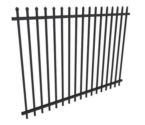 Black Security Fence Panel 1.8m high x 2.4m Long - Galvanised Steel Powdercoated