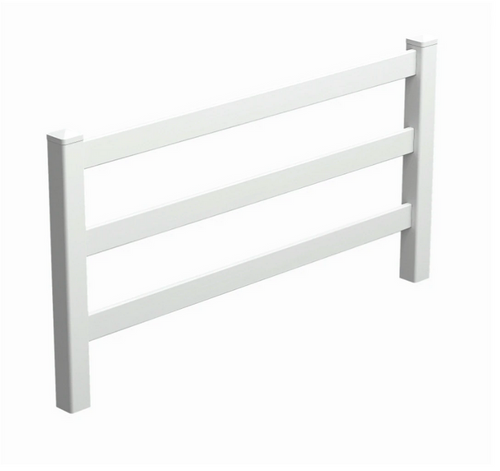 PVC Post And Rail Fencing 2388mm wide x 1400mm high - Fencing Rails Pack - 3x Rails In A Pack - Posts Purchased Separately