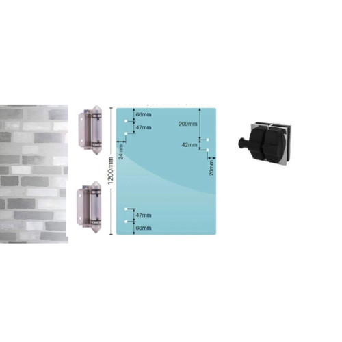Frameless Glass Gate Kit for Walls (Or Posts) 890mm* wide x 1200mm high includes hinges and latch.