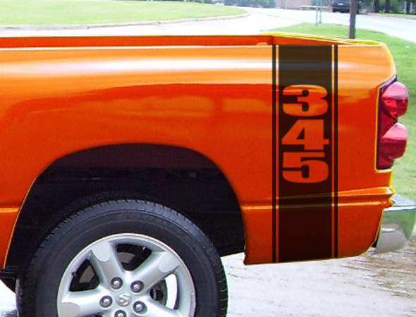 "Bed Stripes Decal 1 -""345"" for Dodge Ram"
