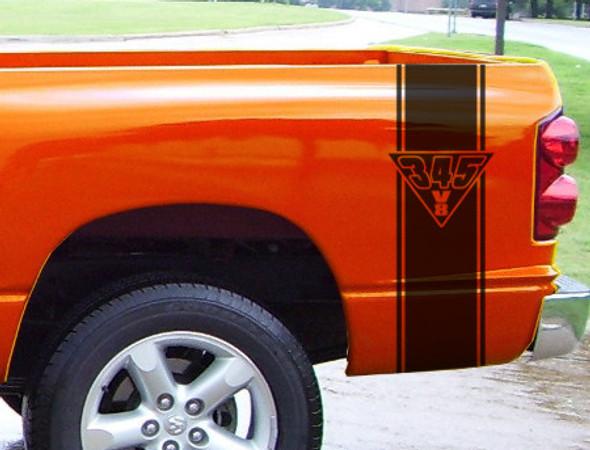 """Bed Stripes Decal 5 """"345 V8"""" for Dodge Ram"""