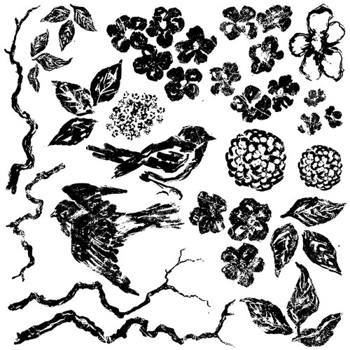 Birds Branches Blossoms Decor Stamps