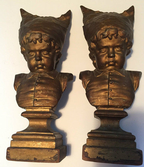 Pair of Antique Boy Wearing Dunce Cap Bookends