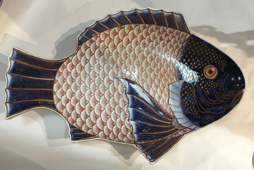 Large Early 20th Century Imari Fish Plate Signed