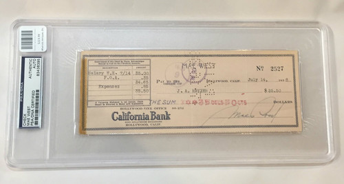 Mae West Signed Check 1938 Authenticated