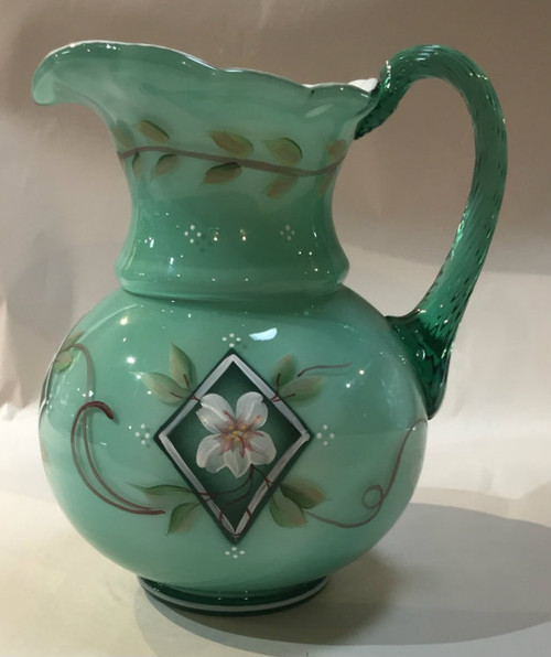Hand Painted Fenton Green Overlay Pitcher