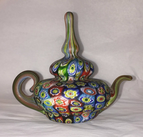 Mid-Century Fratelli Toso Millefiori Glass Teapot Paperweight