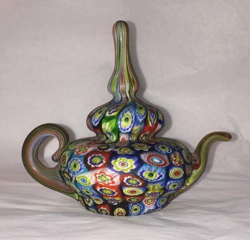 Mid-Century Fratelli Toso Millefiori Glass Teapot Paperweight