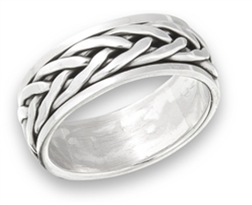 Sterling Silver Interwoven Spinning Ring 3683