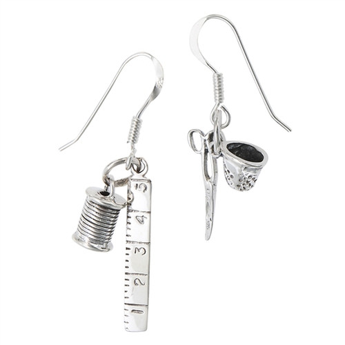 Sterling Silver Ruler and Scissor Earrings 4029