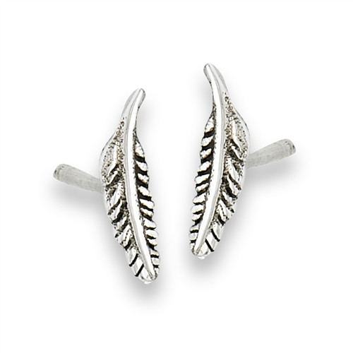 Sterling Silver Small Feather Stud Earring 1660