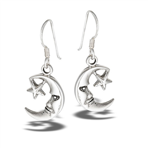 Sterling Moon and Star Dangle Earrings 4690