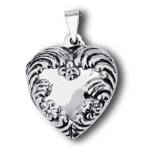 Sterling Victorian Heart Locket 7237
