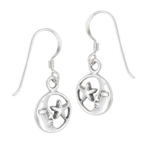 Sterling Moon and Star Earrings 4452