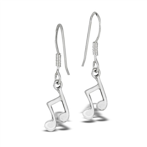 Sterling Dangling Musical Notes Earrings 9805