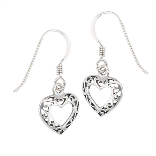 Sterling Celtic Filigree Heart Earrings 4376