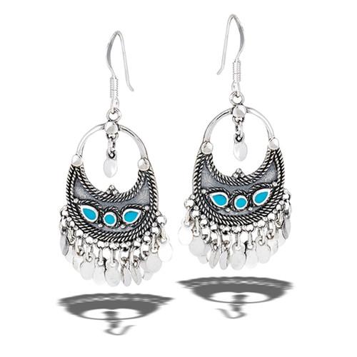 Sterling Bali Style Dangling Earrings w/ Syn Turquoise 9771