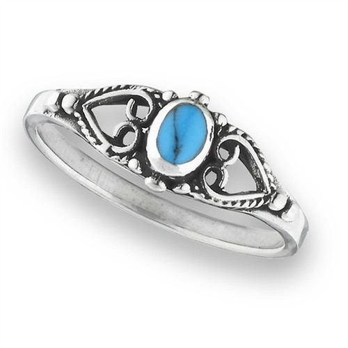 Sterling Ring w/Synthetic Turquoise 2620