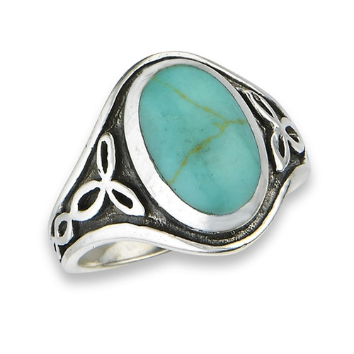 Sterling Celtic Ring With Syn Turquoise 2812