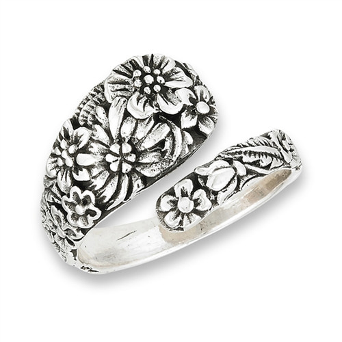 Sterling Spoon Ring w/Flowers 2938