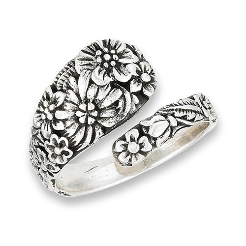 Sterling Spoon Ring w/Flowers 2938