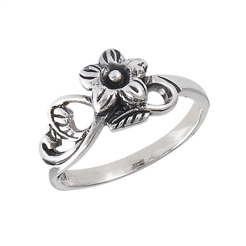 Sterling Flower w/Leaves Ring 3084