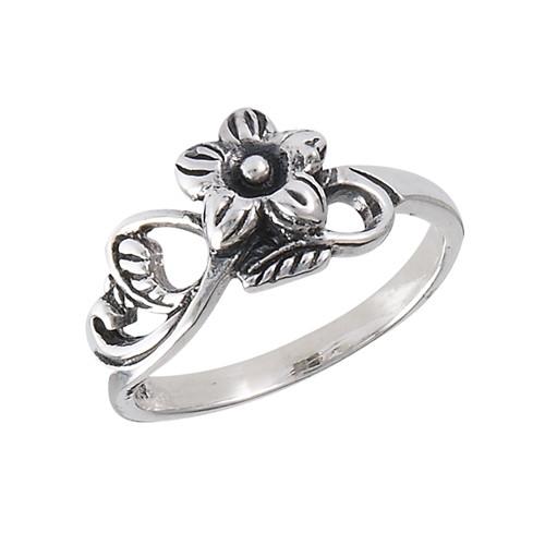 Sterling Flower w/Leaves Ring 3084