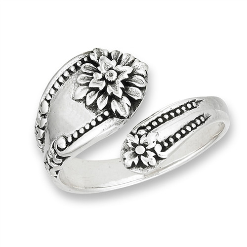 Sterling Victorian Spoon Ring w/Flowers 2939