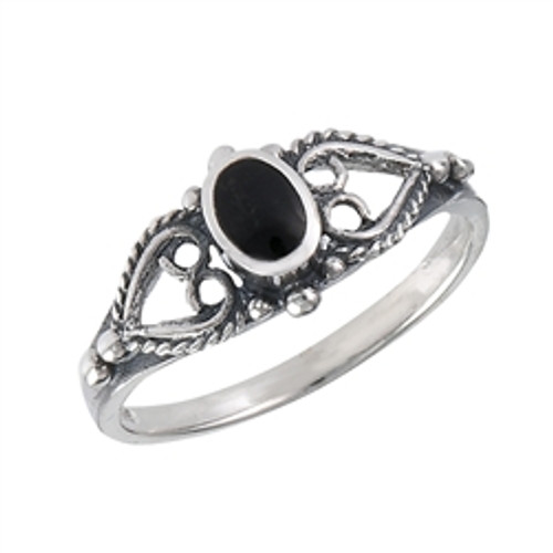 Sterling Ring w/Synthetic Black Onyx 3708