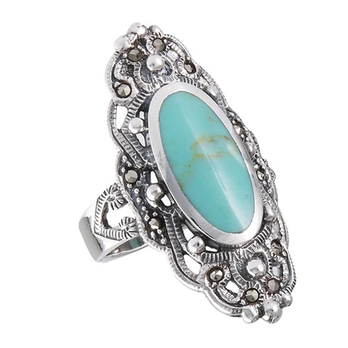 Sterling Ring w/Marcasite and Syn Turquoise 2297