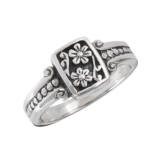 Sterling Flower w/Scroll and Dots Ring 3287