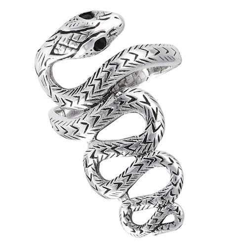 Sterling Snake Ring w/Onyx Eyes 2400